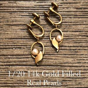 Vtg. 1/20 14k Gold Filled Screw Back Clip Earrings